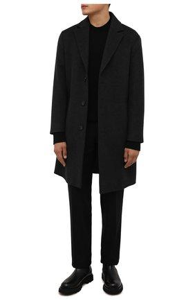 Мужской кашемировое пальто LORO PIANA темно-серого цвета, арт. FAL9298 | Фото 2 (Рукава: Длинные; Длина (верхняя одежда): До колена; Материал внешний: Кашемир, Шерсть; Мужское Кросс-КТ: пальто-верхняя одежда; Стили: Классический)