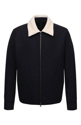 Мужская шерстяная куртка HARRIS WHARF LONDON темно-синего цвета, арт. C9341MLK-W | Фото 1 (Материал внешний: Шерсть; Рукава: Длинные; Длина (верхняя одежда): Короткие; Кросс-КТ: Куртка; Мужское Кросс-КТ: шерсть и кашемир; Стили: Кэжуэл)