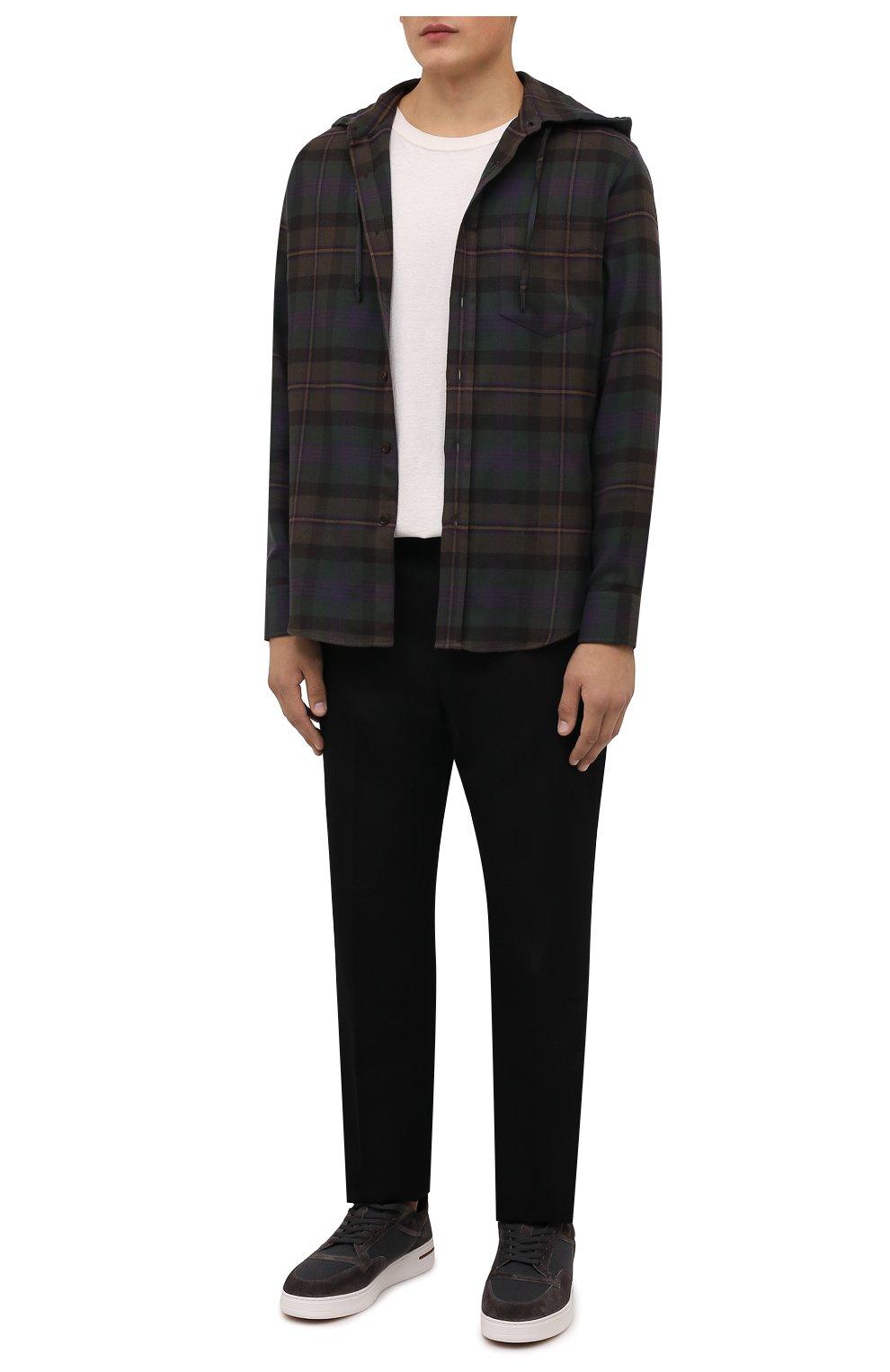 Мужские комбинированные кеды newport knitted walk LORO PIANA темно-коричневого цвета, арт. FAL7953 | Фото 2 (Материал внешний: Текстиль; Материал внутренний: Натуральная кожа, Текстиль; Подошва: Массивная)