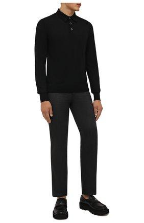 Мужские брюки из шерсти и хлопка BRIONI темно-серого цвета, арт. SPLQ0L/01A4N/CHAM0NIX | Фото 2 (Длина (брюки, джинсы): Стандартные; Материал внешний: Шерсть, Хлопок; Случай: Повседневный; Стили: Кэжуэл)