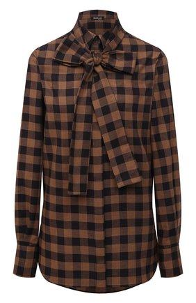 Женская рубашка из хлопка и шерсти KITON коричневого цвета, арт. D48407H07452   Фото 1 (Материал внешний: Хлопок; Рукава: Длинные; Длина (для топов): Удлиненные; Женское Кросс-КТ: Рубашка-одежда; Принт: С принтом; Стили: Кэжуэл)