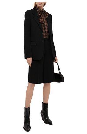 Женская рубашка из хлопка и шерсти KITON коричневого цвета, арт. D48407H07452   Фото 2 (Материал внешний: Хлопок; Рукава: Длинные; Длина (для топов): Удлиненные; Женское Кросс-КТ: Рубашка-одежда; Принт: С принтом; Стили: Кэжуэл)