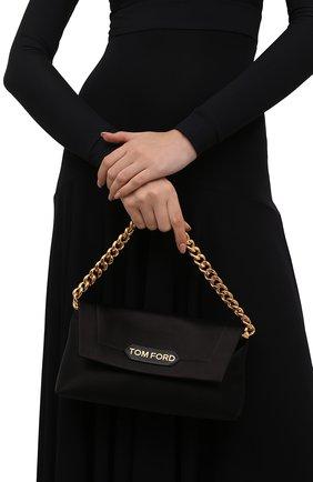 Женская сумка label small TOM FORD черного цвета, арт. L1504T-TSA005   Фото 2 (Размер: small; Материал: Текстиль; Сумки-технические: Сумки top-handle)