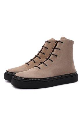 Женские замшевые ботинки RALPH LAUREN бежевого цвета, арт. 800850304 | Фото 1 (Материал внутренний: Натуральная кожа; Подошва: Платформа; Материал внешний: Замша)