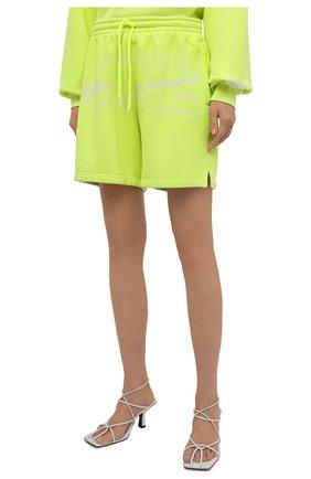 Женские хлопковые шорты ALEXANDER WANG светло-зеленого цвета, арт. UCC3214017 | Фото 3 (Женское Кросс-КТ: Шорты-одежда; Длина Ж (юбки, платья, шорты): Мини; Материал внешний: Хлопок; Стили: Спорт-шик)