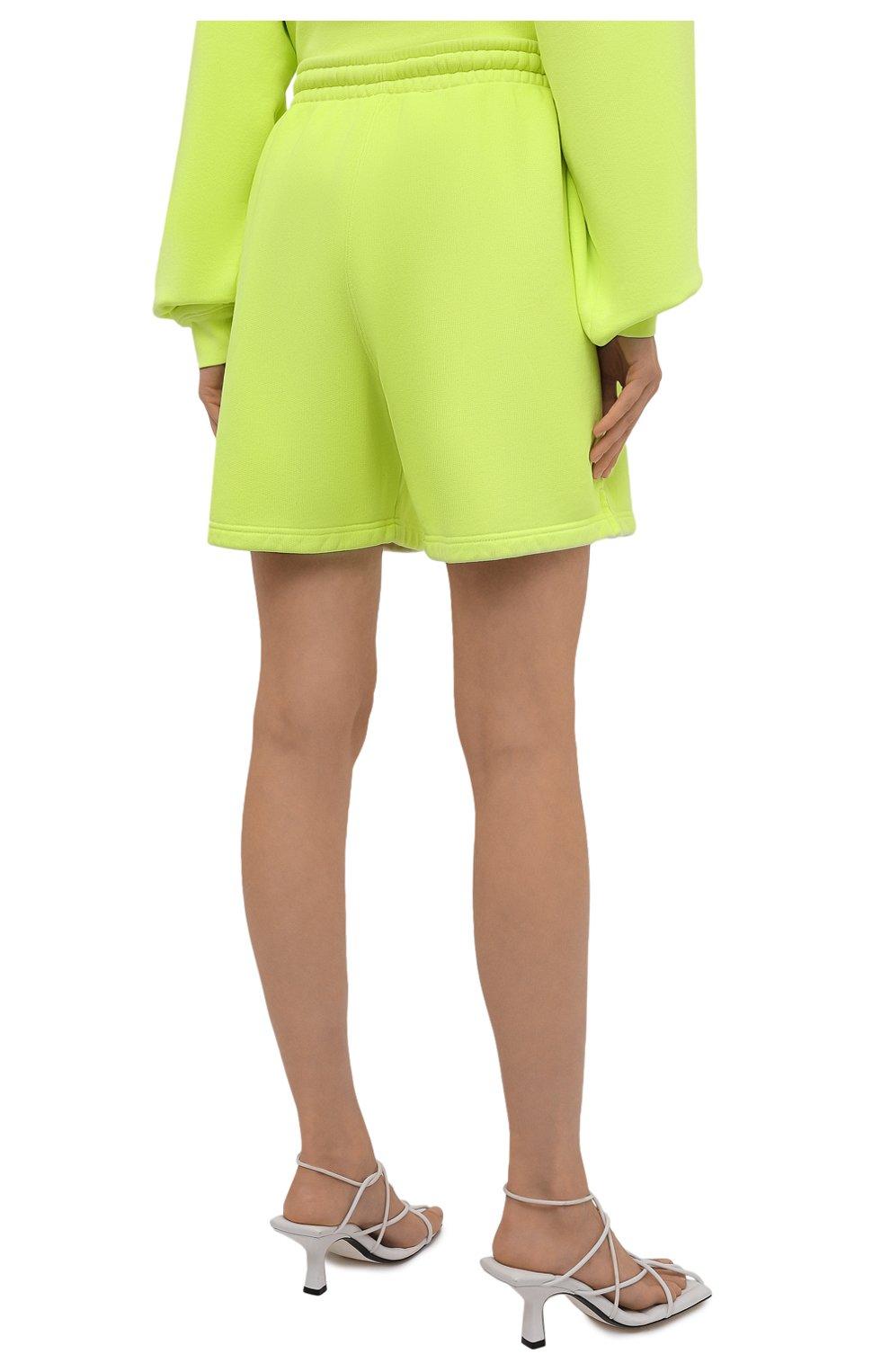 Женские хлопковые шорты ALEXANDER WANG светло-зеленого цвета, арт. UCC3214017 | Фото 4 (Женское Кросс-КТ: Шорты-одежда; Длина Ж (юбки, платья, шорты): Мини; Материал внешний: Хлопок; Стили: Спорт-шик)