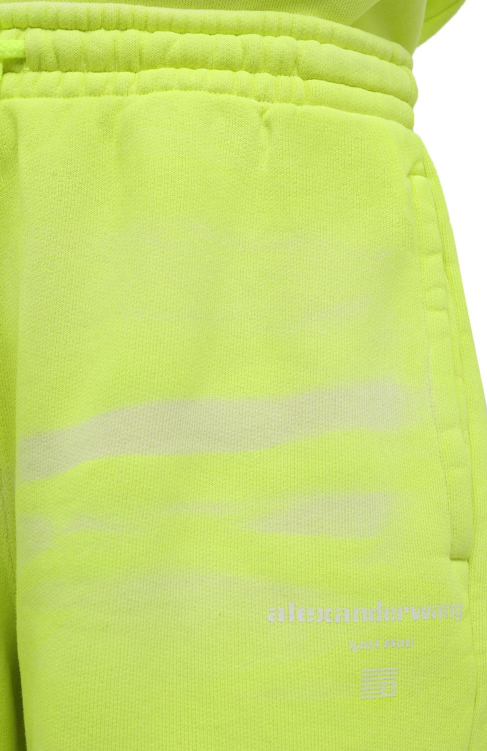 Женские хлопковые шорты ALEXANDER WANG светло-зеленого цвета, арт. UCC3214017 | Фото 5 (Женское Кросс-КТ: Шорты-одежда; Длина Ж (юбки, платья, шорты): Мини; Материал внешний: Хлопок; Стили: Спорт-шик)