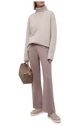 Женские кашемировые брюки LORO PIANA темно-розового цвета, арт. FAL8590 | Фото 2 (Длина (брюки, джинсы): Стандартные; Материал внешний: Кашемир, Шерсть; Женское Кросс-КТ: Брюки-одежда; Кросс-КТ: Трикотаж; Стили: Кэжуэл)