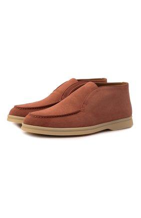 Женские замшевые ботинки open walk LORO PIANA розового цвета, арт. FAE9959 | Фото 1 (Материал внутренний: Натуральная кожа; Материал внешний: Замша; Подошва: Плоская; Каблук высота: Низкий)