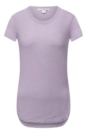 Женская хлопковая футболка JAMES PERSE сиреневого цвета, арт. WUA3037   Фото 1 (Материал внешний: Хлопок; Женское Кросс-КТ: Футболка-одежда; Принт: С принтом; Стили: Кэжуэл; Рукава: Короткие; Длина (для топов): Стандартные)