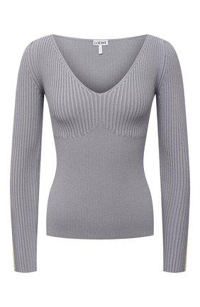 Женский пуловер из вискозы LOEWE серого цвета, арт. S540Y14K86 | Фото 1 (Рукава: Длинные; Длина (для топов): Стандартные; Материал внешний: Вискоза; Женское Кросс-КТ: Пуловер-одежда; Стили: Кэжуэл)