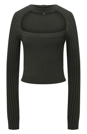 Женский шерстяной пуловер LOEWE хаки цвета, арт. S540Y14K85 | Фото 1 (Материал внешний: Шерсть; Длина (для топов): Укороченные; Рукава: Длинные; Женское Кросс-КТ: Пуловер-одежда; Стили: Кэжуэл)
