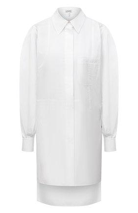 Женская хлопковая рубашка LOEWE белого цвета, арт. S540Y06X38 | Фото 1 (Рукава: Длинные; Длина (для топов): Удлиненные; Материал внешний: Хлопок; Женское Кросс-КТ: Рубашка-одежда; Принт: Без принта; Стили: Кэжуэл)