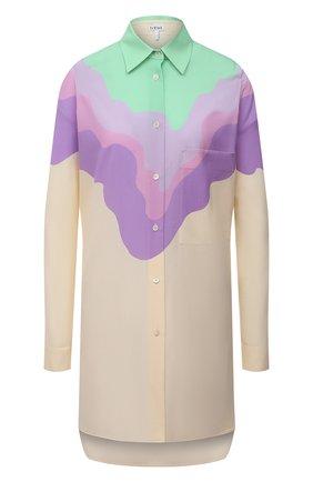 Женская шерстяная рубашка LOEWE разноцветного цвета, арт. S540Y06X35 | Фото 1 (Длина (для топов): Удлиненные; Материал внешний: Шерсть; Рукава: Длинные; Женское Кросс-КТ: Рубашка-одежда; Принт: С принтом; Стили: Кэжуэл)