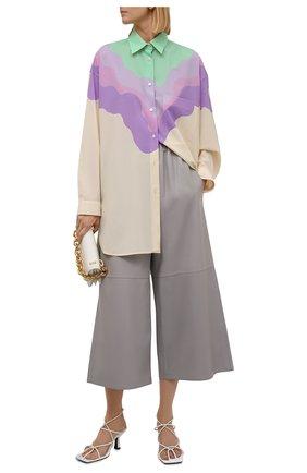 Женская шерстяная рубашка LOEWE разноцветного цвета, арт. S540Y06X35 | Фото 2 (Длина (для топов): Удлиненные; Материал внешний: Шерсть; Рукава: Длинные; Женское Кросс-КТ: Рубашка-одежда; Принт: С принтом; Стили: Кэжуэл)