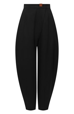 Женские шерстяные брюки LOEWE черного цвета, арт. S540Y04X57   Фото 1 (Материал внешний: Шерсть; Длина (брюки, джинсы): Стандартные; Женское Кросс-КТ: Брюки-одежда; Стили: Минимализм)