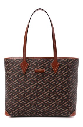 Женский сумка-тоут monogram VERSACE коричневого цвета, арт. 1002218/1A01444   Фото 1 (Размер: medium; Материал: Экокожа; Ошибки технического описания: Нет ширины; Сумки-технические: Сумки-шопперы)
