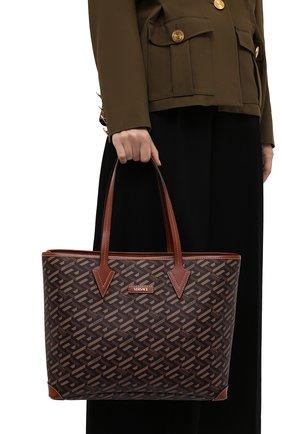 Женский сумка-тоут monogram VERSACE коричневого цвета, арт. 1002218/1A01444   Фото 2 (Размер: medium; Материал: Экокожа; Ошибки технического описания: Нет ширины; Сумки-технические: Сумки-шопперы)