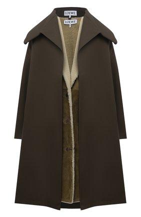 Женская комплект из пальто и жилета LOEWE хаки цвета, арт. S359Y18L12 | Фото 1 (Рукава: Короткие; Длина (верхняя одежда): До колена; Материал внешний: Хлопок; Материал утеплителя: Натуральный мех; Стили: Минимализм)