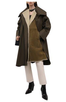 Женская комплект из пальто и жилета LOEWE хаки цвета, арт. S359Y18L12 | Фото 2 (Рукава: Короткие; Длина (верхняя одежда): До колена; Материал внешний: Хлопок; Материал утеплителя: Натуральный мех; Стили: Минимализм)