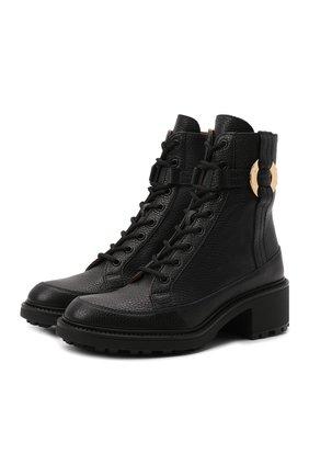 Женские кожаные ботинки darryl CHLOÉ черного цвета, арт. CHC21A48193   Фото 1 (Подошва: Платформа; Материал внутренний: Натуральная кожа; Каблук высота: Низкий)