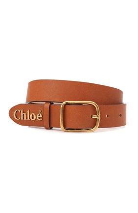 Женский кожаный ремень CHLOÉ светло-коричневого цвета, арт. CHC21AC065815 | Фото 1 (Кросс-КТ: Тонкие)