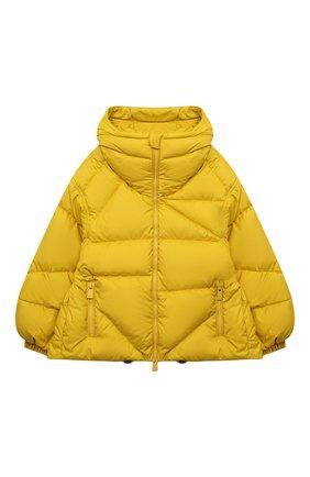 Детская пуховая куртка BACON YOUNG желтого цвета, арт. BKW1/BACPIGIA189/D0UBLE B   Фото 1 (Материал утеплителя: Пух и перо; Материал внешний: Синтетический материал; Рукава: Длинные; Материал подклада: Синтетический материал; Девочки Кросс-КТ: Пуховик-верхняя одежда; Кросс-КТ: Сезон: зима)