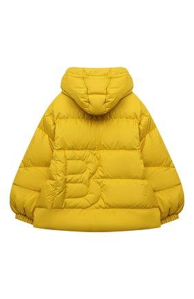 Детская пуховая куртка BACON YOUNG желтого цвета, арт. BKW1/BACPIGIA189/D0UBLE B   Фото 2 (Материал утеплителя: Пух и перо; Материал внешний: Синтетический материал; Рукава: Длинные; Материал подклада: Синтетический материал; Девочки Кросс-КТ: Пуховик-верхняя одежда; Кросс-КТ: Сезон: зима)
