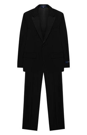 Детский шерстяной костюм POLO RALPH LAUREN черного цвета, арт. 352757062 | Фото 1 (Материал внешний: Шерсть; Материал подклада: Вискоза; Рукава: Длинные)