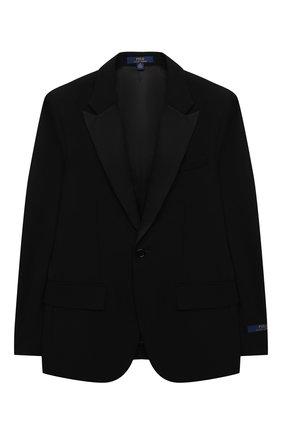 Детский шерстяной костюм POLO RALPH LAUREN черного цвета, арт. 352757062 | Фото 2 (Материал внешний: Шерсть; Материал подклада: Вискоза; Рукава: Длинные)