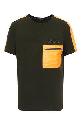 Мужская футболка из вискозы BALMAIN хаки цвета, арт. WH0EH004MA01/   Фото 1 (Материал внешний: Вискоза; Рукава: Короткие; Принт: С принтом; Стили: Гранж)