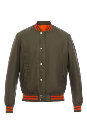 Мужской бомбер BALMAIN хаки цвета, арт. WH0TF002140X/   Фото 1 (Материал внешний: Синтетический материал; Кросс-КТ: Куртка; Длина (верхняя одежда): Короткие; Стили: Милитари, Гранж)