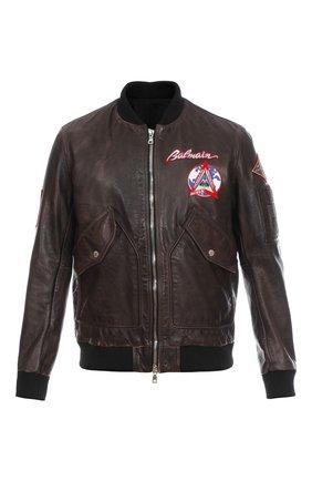 Мужской кожаный бомбер BALMAIN темно-коричневого цвета, арт. WH0TF170LA03/   Фото 1 (Кросс-КТ: Куртка; Длина (верхняя одежда): Короткие; Стили: Гранж; Мужское Кросс-КТ: Кожа и замша)