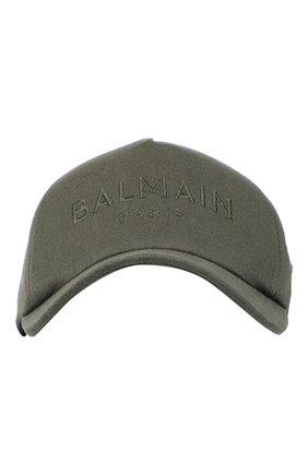 Мужской хлопковая бейсболка BALMAIN хаки цвета, арт. WH0XA000C233/   Фото 1 (Материал: Текстиль, Хлопок)
