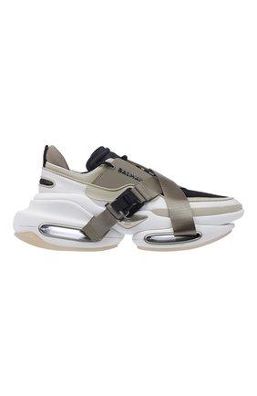 Мужские кроссовки b-bold BALMAIN хаки цвета, арт. WM0VI278TSHT/ | Фото 1 (Материал внешний: Текстиль; Стили: Гранж)
