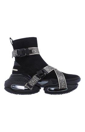 Мужские комбинированные кроссовки b-bold BALMAIN черного цвета, арт. WM0VJ274TKLM/ | Фото 1 (Материал внешний: Текстиль; Стили: Гранж)