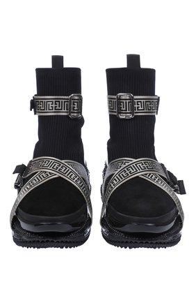 Мужские комбинированные кроссовки b-bold BALMAIN черного цвета, арт. WM0VJ274TKLM/ | Фото 2 (Материал внешний: Текстиль; Стили: Гранж)