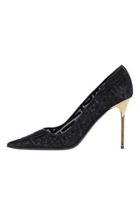 Женские комбинированные туфли BALMAIN черного цвета, арт. WN0UA703/TRME | Фото 1 (Материал внешний: Текстиль; Каблук тип: Шпилька; Каблук высота: Высокий)