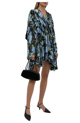 Женское платье из вискозы BALENCIAGA синего цвета, арт. 675428/TLLA1 | Фото 2 (Рукава: Длинные; Длина Ж (юбки, платья, шорты): До колена; Материал внешний: Вискоза; Женское Кросс-КТ: Платье-одежда; Случай: Повседневный; Стили: Романтичный)