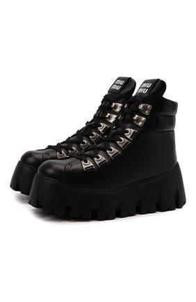 Женские кожаные ботинки MIU MIU черного цвета, арт. 5T578D/070   Фото 1 (Материал внутренний: Натуральная кожа; Подошва: Платформа; Женское Кросс-КТ: Военные ботинки)