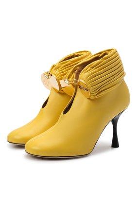 Женские кожаные ботильоны bracelet LOEWE желтого цвета, арт. L814286X12 | Фото 1 (Материал внутренний: Натуральная кожа; Каблук тип: Шпилька; Каблук высота: Высокий; Подошва: Плоская)