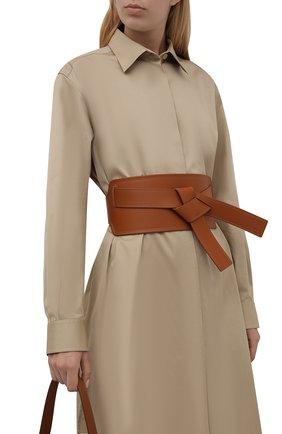 Женский кожаный пояс LOEWE коричневого цвета, арт. S818Y21L04   Фото 2 (Кросс-КТ: Широкие)
