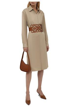 Женский кожаный пояс LOEWE коричневого цвета, арт. S540Y21L12   Фото 2 (Кросс-КТ: Широкие)