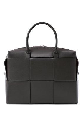Мужская кожаная сумка для ноутбука arco BOTTEGA VENETA светло-серого цвета, арт. 620633/VB1K0   Фото 1 (Ремень/цепочка: На ремешке; Материал: Натуральная кожа)