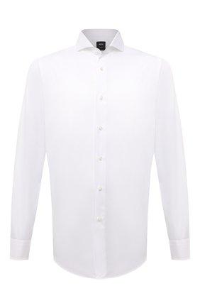 Мужская хлопковая сорочка BOSS белого цвета, арт. 50460274 | Фото 1 (Материал внешний: Хлопок; Случай: Формальный; Рукава: Длинные; Принт: Однотонные; Воротник: Акула; Рубашки М: Regular Fit; Манжеты: На пуговицах; Стили: Классический; Длина (для топов): Стандартные)
