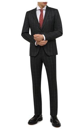 Мужская хлопковая сорочка BOSS белого цвета, арт. 50460274 | Фото 2 (Материал внешний: Хлопок; Случай: Формальный; Рукава: Длинные; Принт: Однотонные; Воротник: Акула; Рубашки М: Regular Fit; Манжеты: На пуговицах; Стили: Классический; Длина (для топов): Стандартные)