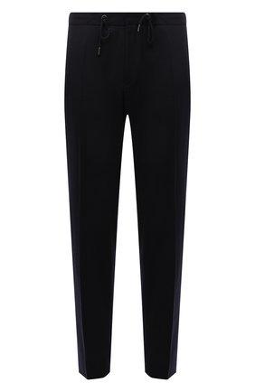 Мужские шерстяные брюки BOSS темно-синего цвета, арт. 50458741 | Фото 1 (Материал внешний: Шерсть; Длина (брюки, джинсы): Стандартные; Случай: Повседневный; Стили: Кэжуэл)