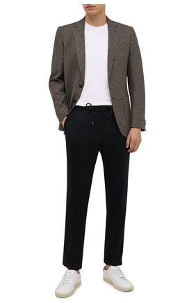 Мужские шерстяные брюки BOSS темно-синего цвета, арт. 50458741 | Фото 2 (Материал внешний: Шерсть; Длина (брюки, джинсы): Стандартные; Случай: Повседневный; Стили: Кэжуэл)