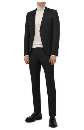Мужской шерстяной костюм BOSS темно-серого цвета, арт. 50458894 | Фото 1 (Рукава: Длинные; Материал внешний: Шерсть; Костюмы М: Однобортный; Стили: Классический)