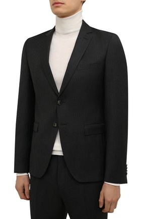 Мужской шерстяной костюм BOSS темно-серого цвета, арт. 50458894 | Фото 2 (Рукава: Длинные; Материал внешний: Шерсть; Костюмы М: Однобортный; Стили: Классический)